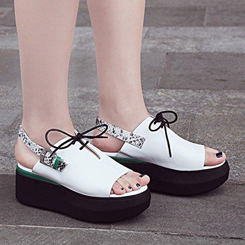 ZYUSHIZ Version coréenne de l'été imperméable High-Heel Sandales Pantoufles Mme 37EU