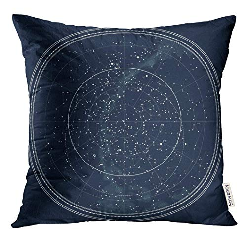 Celestial Home Decor (Throw Pillow Cover Astronomical Celestial Map of The Northern Hemisphere Detailed Chart Night Black Ink This File Also Has Decorative Pillow Case Home Decor Square 18X18 Inches Inches Pillowcase)