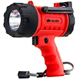 NoCry LED Taschenlampe | Wasserfest & wiederaufladbar | Suchscheinwerfer mit 1000 Lumen | Abnehmbarer Rotlicht Filter | Mit Wand- und KFZ-Ladegerät | LED Handscheinwerfer