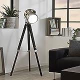 Licht-Trend Gazer Dreibein-Stehleuchte Holz & Chrom schwarz Stehlampe