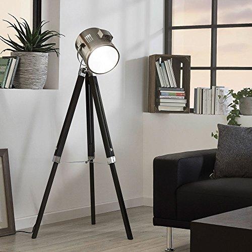 Licht-Trend Gazer Dreibein-Stehleuchte Holz & Chrom schwarz Stehlampe (Home-observatorium)