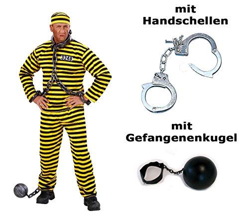 Kostüm Gefangener gelb schwarz Häfling Gr. S + -