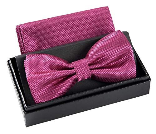 Massi Morino Papillon con fazzoletto in confezione regalo, papillon - set in diversi colori in microfibra, fiocco regolabile con fazzoletto coordinato (Porpora)