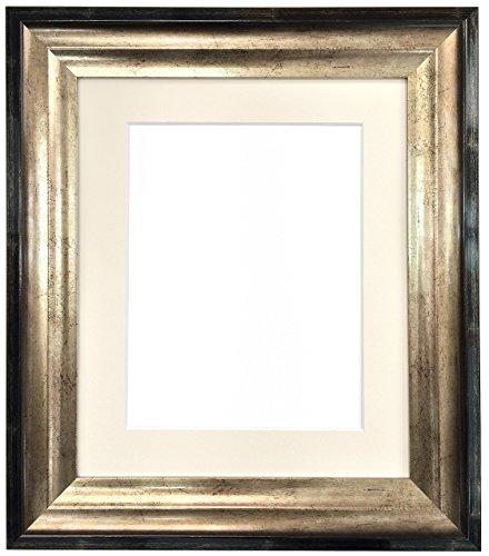 Frames By Post Bilderrahmen Firenza, antiker Stil, mit Passepartout, goldfarben/Schwarz, Elfenbeinfarben, 6