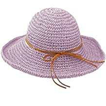 Tinksky Las mujeres sol tapas plegable verano Playa Sol sombreros de paja  (púrpura de Taro 181195cf7a2