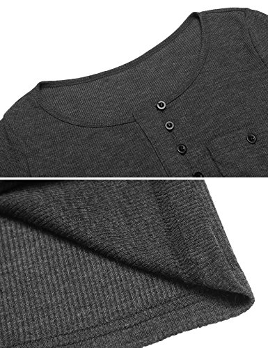 Modfine Damen Langarmshirt Oberteile Langarm Rundhals Bluse Casual Stretch Shirts mit Knopfleiste Dunkelgrau