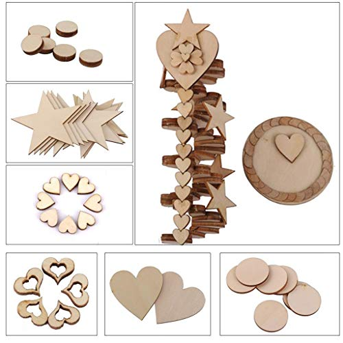 Yitaocity 100Pcs 20mm Blank Wooden Round Ring Circle Discs Embellishments Art Crafts Card