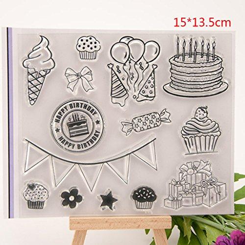 ECMQS Happy Birthday DIY Transparente Briefmarke, Silikon Stempel Set, Clear Stamps, Schneiden Schablonen, Bastelei Scrapbooking-Werkzeug