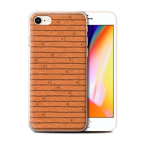 Stuff4 Hülle / Case für Apple iPhone 8 / Orange Muster / Holz-Muster Kollektion Orange