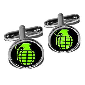 Grenade à main Frag Explosive Arme boutons de manchette rond–Argent