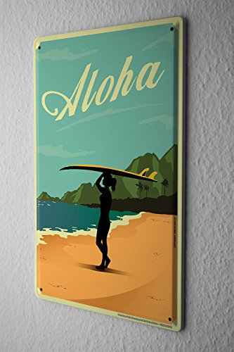 Cartel-de-chapa-Placa-metal-tin-sign-Nostlgico-Placa-De-Pared-Playa-Mujer-tabla-hawaiana-Aloha-Metal-Letrero-De-Pared-20X30-cm