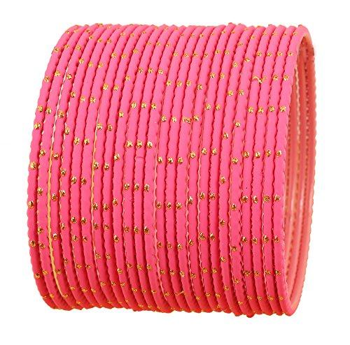 Touchstone Bangle Collection exklusive Glasur heißen Designer-Schmuck spezielle Armreifen Armbänder für Damen 2.75 Set 2 Hot Pink