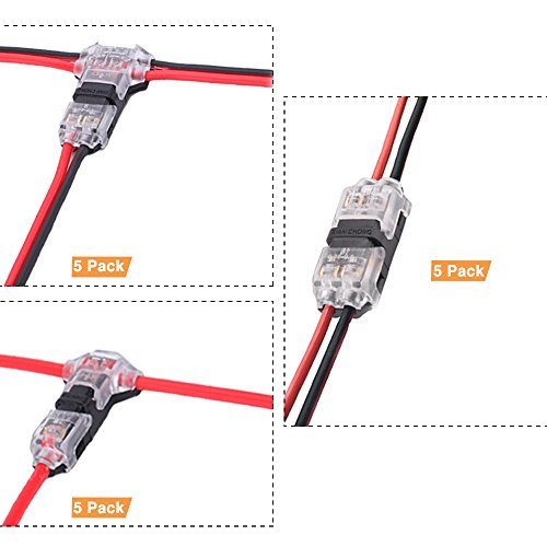 Brightfour Draht-Steckverbinder-Kit, 15 Packung lötfreien Niederspannungs-Draht-Steckverbindern ohne Abisolieren erforderlich für Mittelspannungs- Abzweigkabel-Anschluss 20/22 AWG-Kabel 0,2-0,5mm²