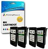 4 Druckerpatronen für Canon Pixma MP230, MP235, MP240, MP250, MP252, MP260, MP270, MP272, MP280, MP282, MP480, MP490, MP492, MP495, MP499, iP2700, iP2702, MX320, MX330, MX340, MX350, MX360, MX410, MX420 | kompatibel zu PG-512 (PG512), CL-513 (CL513)
