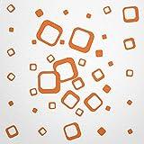 WANDfee® Wandtattoo 40 Vierecke FARBWUNSCH Farbe orange orange zweifarbig bunte moderne Wanddeko selbstklebende retro Cubes Quadrate Wandaufkleber Wandsticker Fliesenaufkleber Dekoration Deko Aufkleber