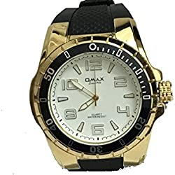 Omax Mens Wrist Watch Black Silicone Strap Gold with White Dial