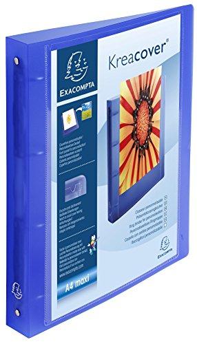 Exacompta Kreacover Chromaline Classeur à 4 anneaux A4 30 mm avec Dos 40 mm Bleu Transparent