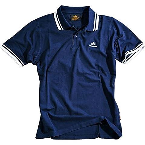 Alpha Industries Men's Polo Shirt - Blue - Medium