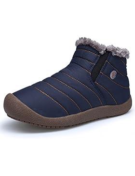 DAFENP Herren Winter Boots Schneestiefel Outdoor Warm Gefütterte Wasserdicht Winterschuhe