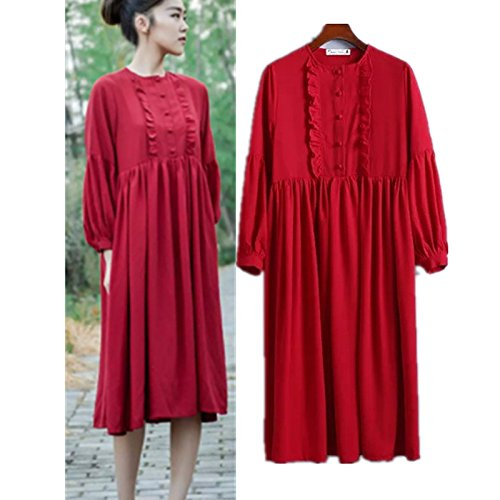 YLSZ-Pure Color Dresses Western Chest Clasp Loose Pure Colors In The Skirt Long Skirt Women, Red S Red S