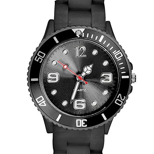 Taffstyle Farbige Sportuhr Armbanduhr Silikon Sport Watch Damen Herren Kinder Analog Quarz Uhr 39mm Schwarz