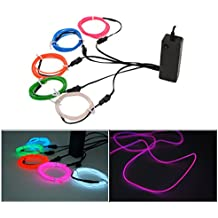 Xcellent Global Electroluminescent EL Wire Splitter 5 X 1 Metros EL Cable Lights Strobing Flashing Wire 3 Modes Sound Control Battery Powered LD096