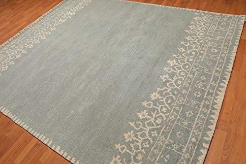 Alter handgemachter blauer zeitgenössischer Grenzart-persischer orientalischer Wollbereich-Wolldecke -