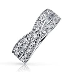 Bling Jewelry Sterling Silver Pave CZ Le Cercle Infinity Ring