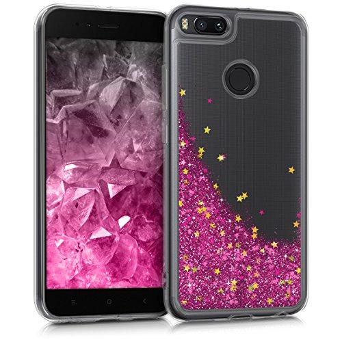 kwmobile Funda para Xiaomi Mi 5X / Mi A1 - Case para móvil de TPU silicona - Cover trasero en rosa fucsia dorado transparente