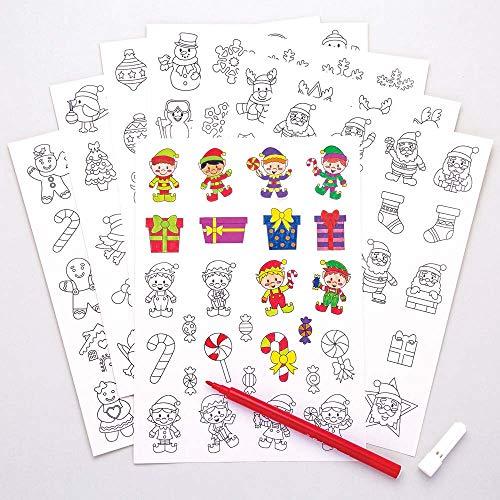 Baker Ross Autocollants de Noël à Décorer (Paquet de 200) - Loisirs Créatifs de Noël pour Enfants