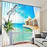 3D Fenster Gardinen Blick Auf Das Meer Zimmer Schattierung Stoff Schlafzimmer Wohnzimmer Europäische Dekorative Druck Polyester Isolierung,E