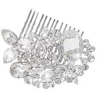 EVER FAITHŽ Austrian Crystal Wedding Flower Oval Drop Hair Comb Silver-Tone Clear N00152-1