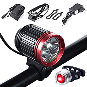 Luz de Bicicleta, S SUNINESS LED Luz de Bicicleta LED Impermeable,5000 Lumen XML U2 Pack de baterías Cargador 4 Modos Luz Delantera LED para Manillar de Bicicleta con Bicicleta Trasera Bicicleta luz