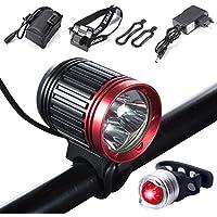 Luz de bicicleta,Suniness LED Luz de bicicleta LED impermeable,5000 lumen XML U2 + Pack de baterías + Cargador 4 modos Luz delantera LED para manillar de bicicleta con bicicleta trasera bicicleta luz