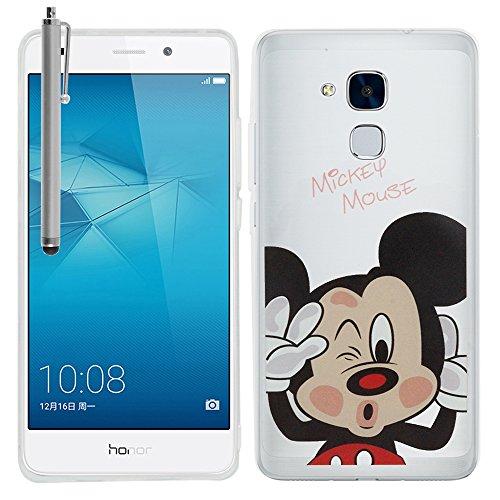 VComp-Shop® Transparente Silikon TPU Handy Schutzhülle mit Motiv Cartoon Disney für Huawei Honor 5c + Großer Eingabestift + GRATIS Displayschutzfolie - Mickey Mouse (Mickey-maus Gratis)