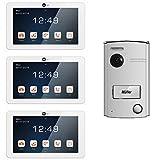 NeoLight Video-Türsprechanlage Porta 7 - ✓ 3x Touchscreen 7 Zoll Monitore ✓ HD-Display ✓ 2-Draht-Technik ✓ 120° Weitwinkel-Türstation ✓ Beleuchtetes Namensschild