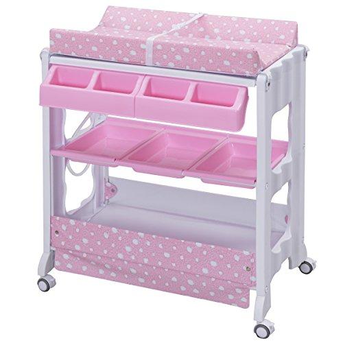 Wickeltisch Wickelkombination Wickelkommode Wickelregal Wickelauflage mobiler + Baby Badewanne (rosa)