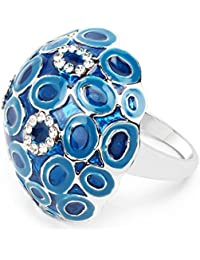 Johareez White Stone Sky Blue & Blue Enamel Ring