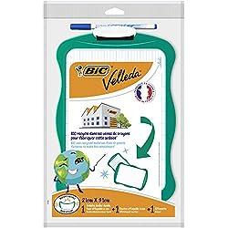 BIC Velleda - Blíster de 3 unidades, conjunto pizarra reciclada (21 x 31 cm)/borrador/1 marcador borrado en seco, tinta azul