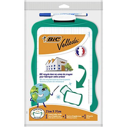 BIC Velleda Recyclebares Whiteboard (21 x 31 cm) Wischer; 1 abwischbarer Marker - Blaue Tinte, 3er Set -