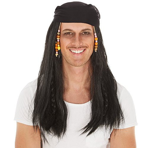 Perücke mit langen Rasta-Zöpfen | schwarz | inklusive Bandana | Pirat Seemann Piratenbraut Fasching (Hipster Kostüm Ideen)