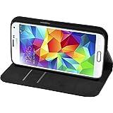 PhoneNatic Kunst-Lederhülle für Samsung Galaxy S6 Book-Case schwarz Tasche Galaxy S6 Hülle + 2 Schutzfolien