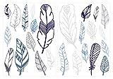 I-love-Wandtattoo WAS-10500 Kinderzimmer Wandsticker Set Federn in Einem Zarten Pastell Blau und Pastell Grau 25 Stück Feder Set zum Kleben Wandtattoo Wandaufkleber Sticker Wanddeko