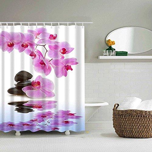 CHATAE Dusche Vorhänge Schnitt Vorhänge Polyester Material wasserdicht und Mehltau Dicke Vorhänge Peach Blossom Druck frei Stanz (Größe: 165* 180cm) - Peach Blossom Dusche