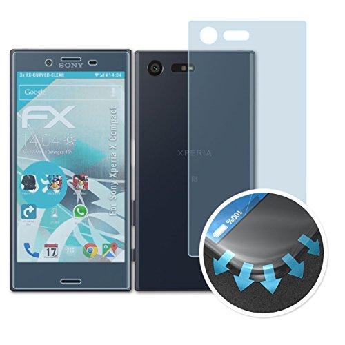 atFoliX Sony Xperia X Compact Folie - 3er Set FX-Curved-Clear flexible Schutzfolie - vollflächiger Schutz bis zum Rand