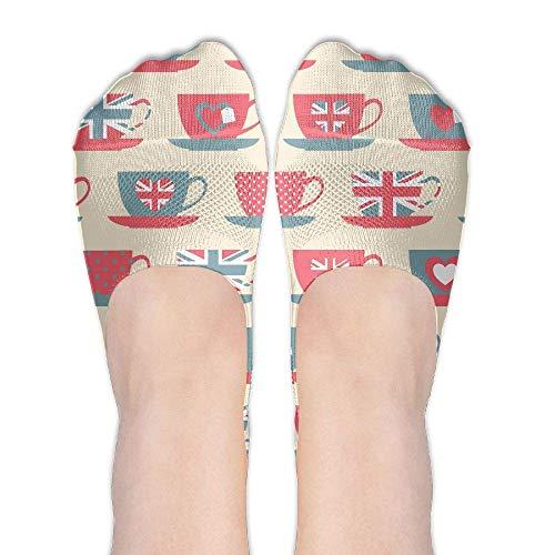 deyhfef British Flag Love Cup Women's Polyester Cotton Socks Ladies Boat Socks Deodorant Boat Socks Thin Section Casual Socks Low Breast Socks