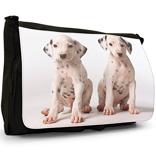 Fancy A Bag Borsa Messenger nero Dalmatian Puppies Two Dalmatians Puppies Dog