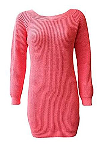 Friendz Trendz-Ladies Plain Chunky Baggy gestrickte Casual Pullover Pullover Coral