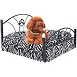 Pawz Road Pet Beds Dog/cat Bed Soft Warm Dog Kennel Pet Cushion Upscale Metal Frame Zebra-stripe Mattress Bed (Zebra)