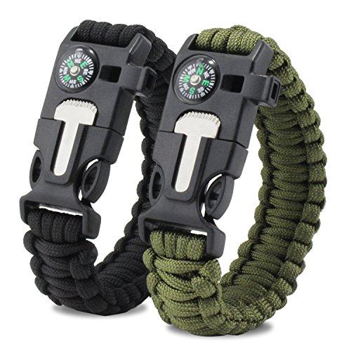 Aussel Multifunktionale Paracord Armband Pfeife Outdoor-Notfall-Survival-Kit mit Kompass Fire Starter Whistle (Größe 1)